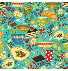 Tea and coffee doodle seamless pattern vector image vector image