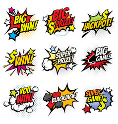 vintage pop art comic bubbles with gambling vector image vector image