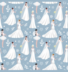 wedding bride girl character seamless pattern vector image