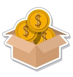 Box carton coins founds vector