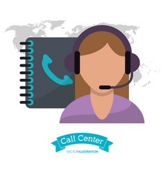 call center woman phone support clients contact vector image