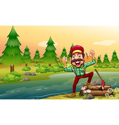 A happy lumberjack at the riverbank vector