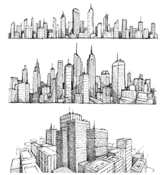 Hand drawn big city cityscapes and buildings vector