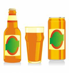 Beer bottle glass and can vector