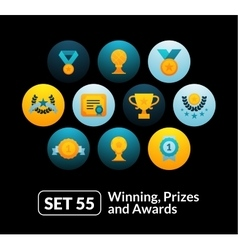 Flat icons set 55 - winning prizes and awards vector