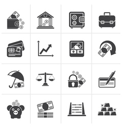 Black business finance and bank icons vector