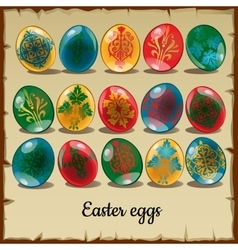 Set of fifteen colorful easter eggs vector