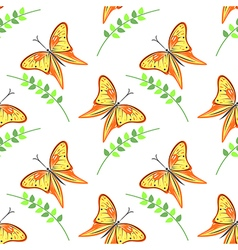 Pattern with violet butterflies and branches vector