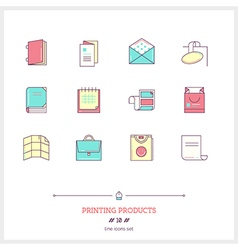 Printing products line icons set vector