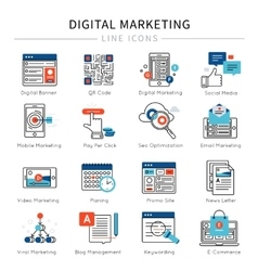 Digital marketing line icon set vector