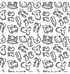 Seamless pattern with baby objects newborn vector