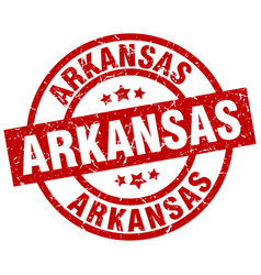 Arkansas red round grunge stamp vector