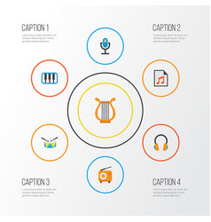 audio flat icons set collection of band vector image vector image