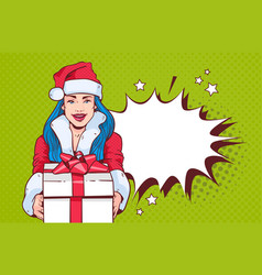 beautiful girl wear santa costume hold gift box vector image