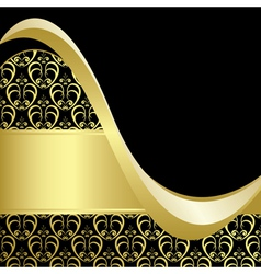 black and gold bright card with gold pattern vector image vector image