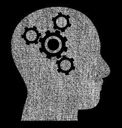 brain mechanics fabric textured icon vector image
