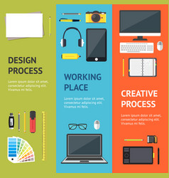 Cartoon designer workplace banner vecrtical set vector
