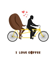 coffee lovers Coffee beans on bicycle Lovers of vector image vector image
