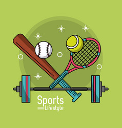 Colorful poster of sports lifestyle with baseball vector