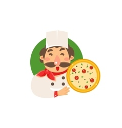 Cook holding pizza vector
