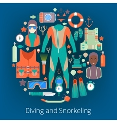 Diving and snorkeling icons set with equipment vector