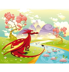Dragon in landscape vector image vector image