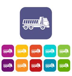 Dumper truck icons set flat vector