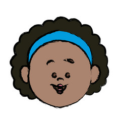 face girl young little character female person vector image