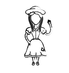 Figure pretty woman with hat and dress vector