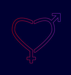 gender signs in heart shape line icon vector image