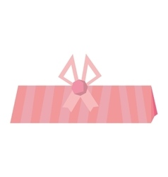 Gift box shape triangle pink bow ornament vector