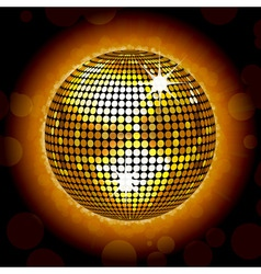 glowing gold disco ball vector image vector image