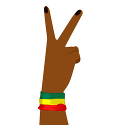 Hand of african woman showing victory sign vector