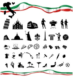ITALIAN symbol set with flag vector image vector image