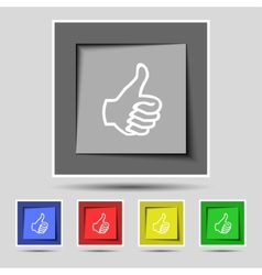 Like sign icon Thumb up symbol Hand finger-up Set vector image