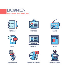 Mass media - coloured modern single line icons set vector