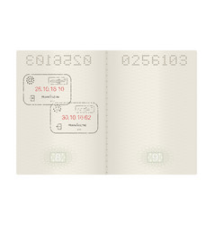 open passport with prague czech republic stamps vector image