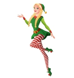Pretty girl in green christmas elf costume vector