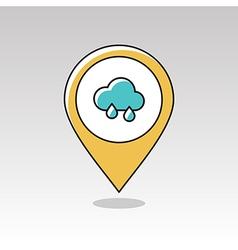 Rain cloud pin map icon meteorology weather vector