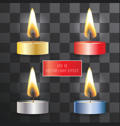 Realistic flame candle set on transparent vector