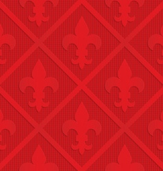 Red fleur de lis on checkered background vector