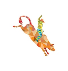 Rodeo cowboy bull riding low polygon vector