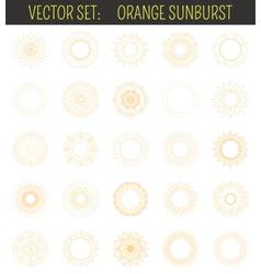 Set of orange sunburst geometric shapes and light vector