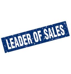 Square grunge blue leader of sales stamp vector