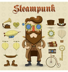 Steampunk character and elements icons vector