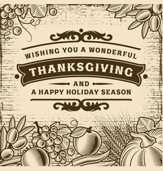 thanksgiving vintage brown card vector image vector image
