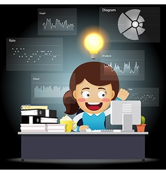 Thinking business woman working on computer vector image vector image