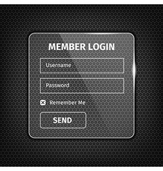 transparent login box on textured background vector image vector image