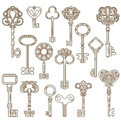 Vintage keys line works set vector