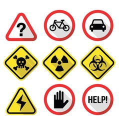Warning signs - danger risk stress - flat design vector image